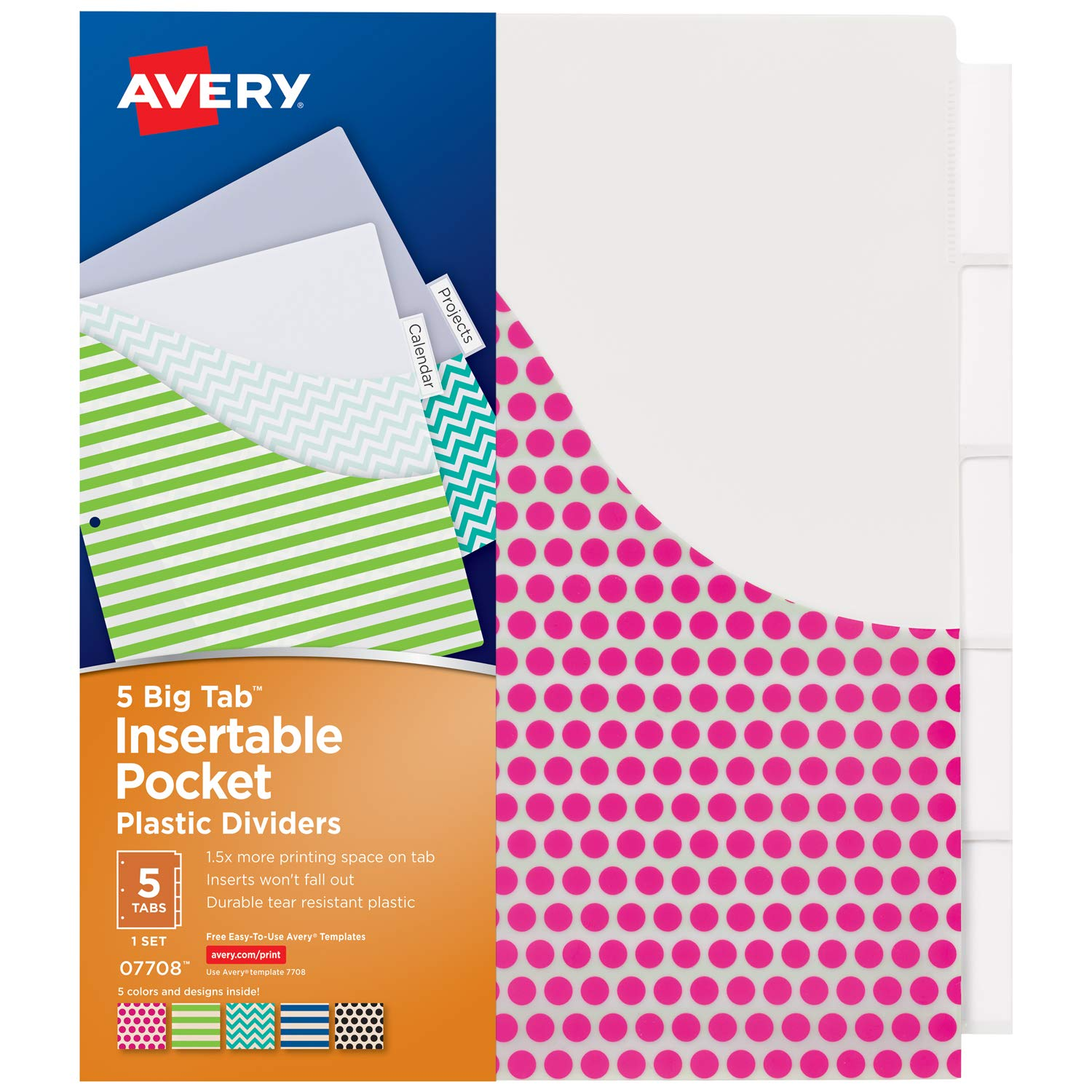 graphic about Free Printable Divider Tabs for Binders identify Avery 5-Tab Plastic Binder Dividers with Pockets, Insertable Crystal clear Substantial Tabs, Different Models, 1 Fixed (7708)