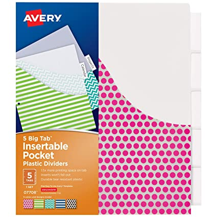 amazon com avery 5 tab plastic binder dividers with pockets