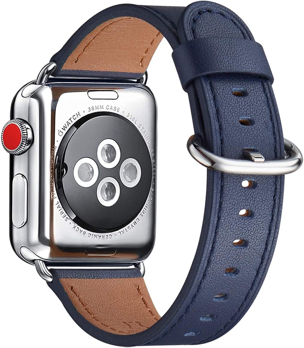 WFEAGL Compatible iWatch Band 38mm 40mm 42mm 44mm, Top Grain Leather Bands of Many Colors for iWatch SE & Series 6,Series5,Series 4,Series 3,Series 2,Series 1(Dark Blue Band+Silver Adapter, 38mm 40mm)