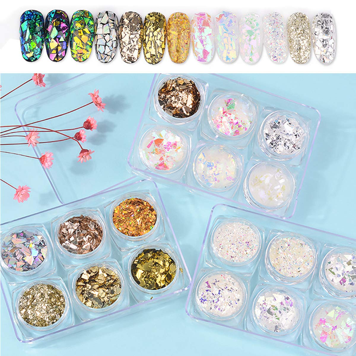 Mezerdoo 18 Boxes Nail Glitter Sequins Cellophane Set Chameleon Glass Paper Irregular Paillette Nail Art Tips Flakes Nail Art Decoration 3D Manicure Sticker DIY for UV Gel