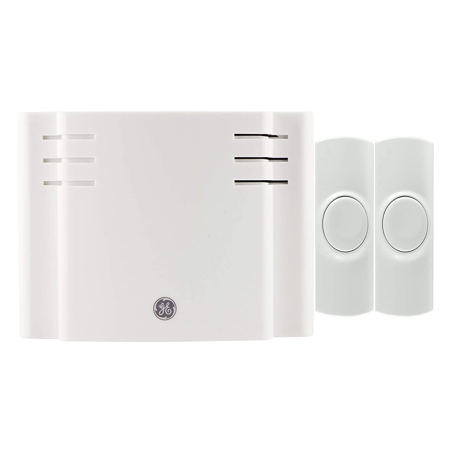 GE Wireless Doorbell Kit, Battery-Operated, 8 Melodies, 1 Receiver, 2 Push Buttons, 4 Volume Levels, 150 Ft. Range, Mountable, White, 19297