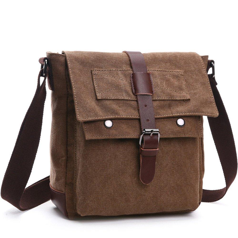 LOSMILE Herren Umhängetasche Schultertasche 16 Zoll Kuriertasche Canvas Laptop Tasche Messenger Bag für Arbeit und Schule. (L, kaffeebraun)