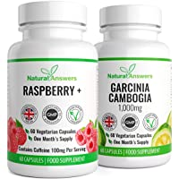 Raspberry + & Garcinia Cambogia 120 Vegetarian Capsules 1 Month Supply UK Manufactured from Natural Answers Ingredients Include: Caffeine,L Tyrosine, Apple Cider Vinegar,Raspberry Extract,Garcinia Cambogia