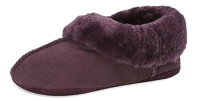 Nordvek - Pantoufles pour femme - 100% peau de mouton - semelles souples en daim et revers en peau de mouton - # 460-100 - Châtaigne - 44 ybLRJNA0