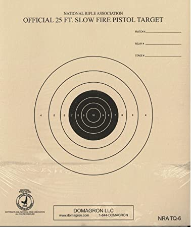 100 on heavy paper NRA TQ-6 Official 25 Foot Slow Fire Pistol Target