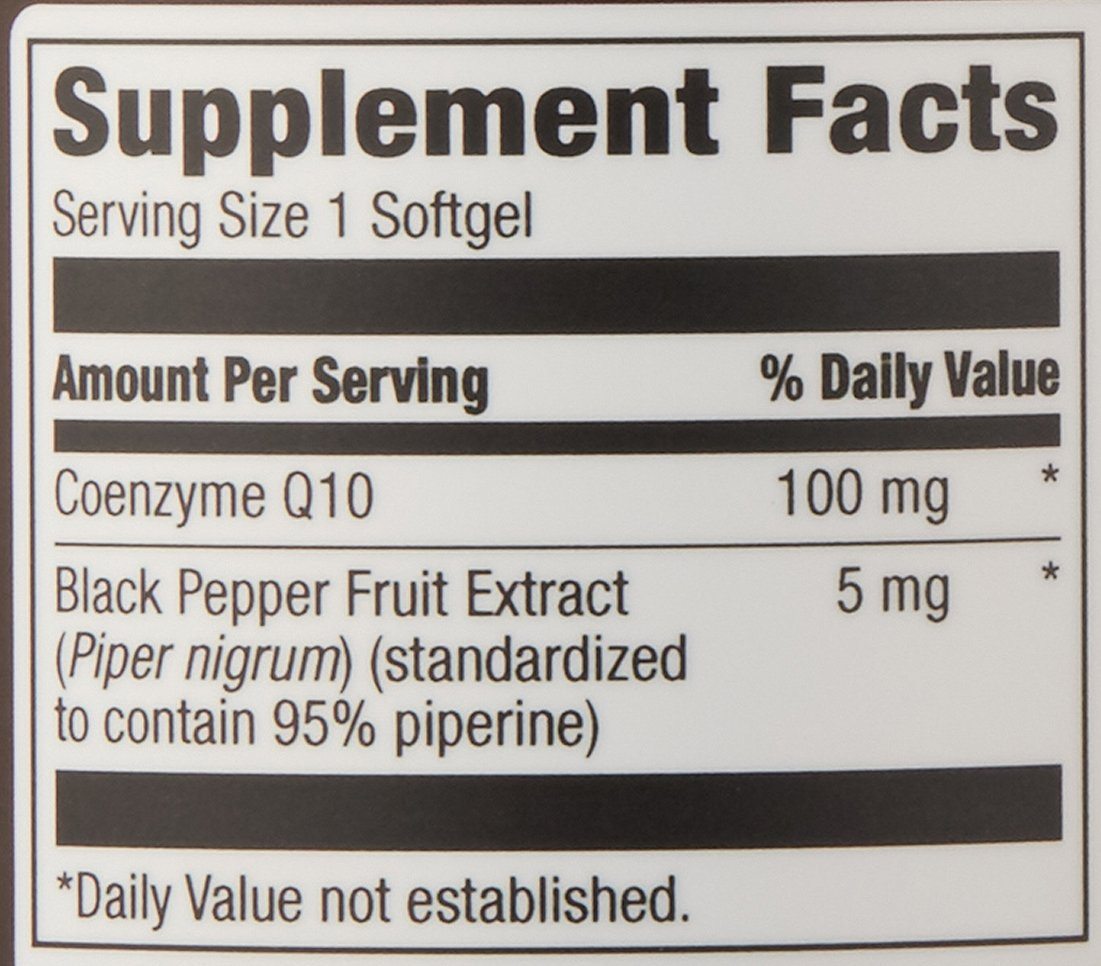 Amazon Elements Coenzyme Q10, 100mg, Black Pepper Extract 5mg, 120  Softgels, 4 month supply