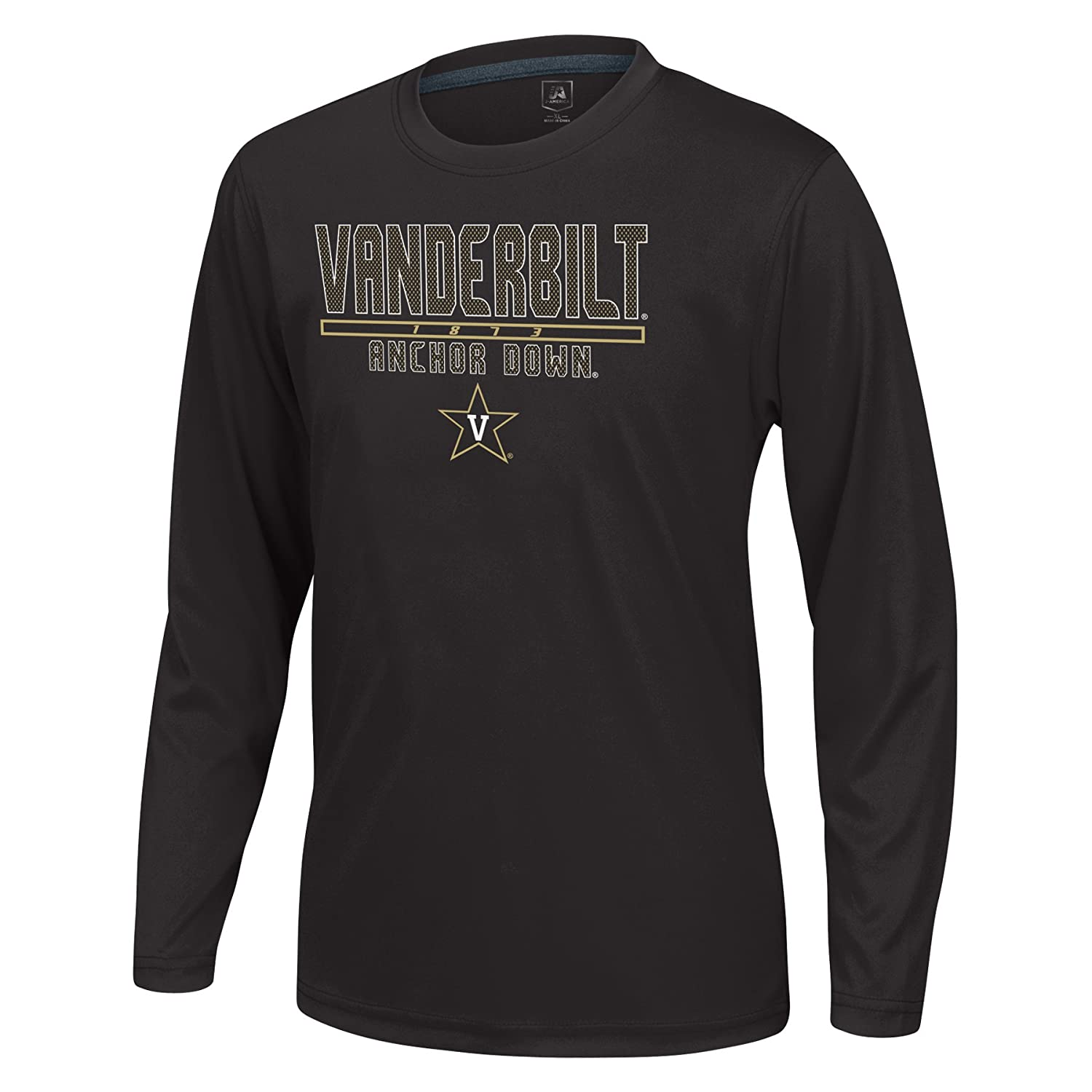 J America NCAA Vanderbilt Commodores Boys Youth School Slogan Long Sleeve Callout Poly Tee Black X-Large