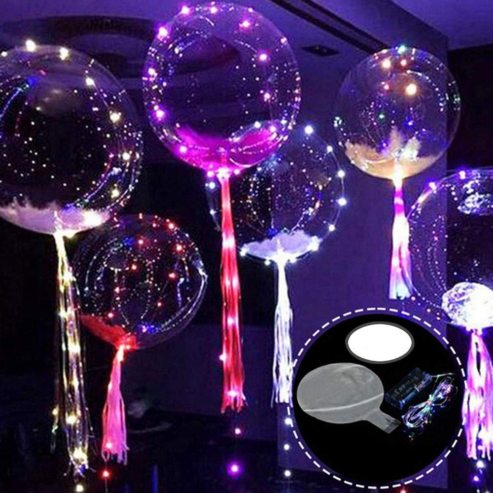 Led Helium Balloons,Aolvo BOBO LED Light Up Balloon with 3M Led String Lights for Birthday Wedding Balloons Christmas Party Balloons Decorative Light Balloon 10 Packs 18''