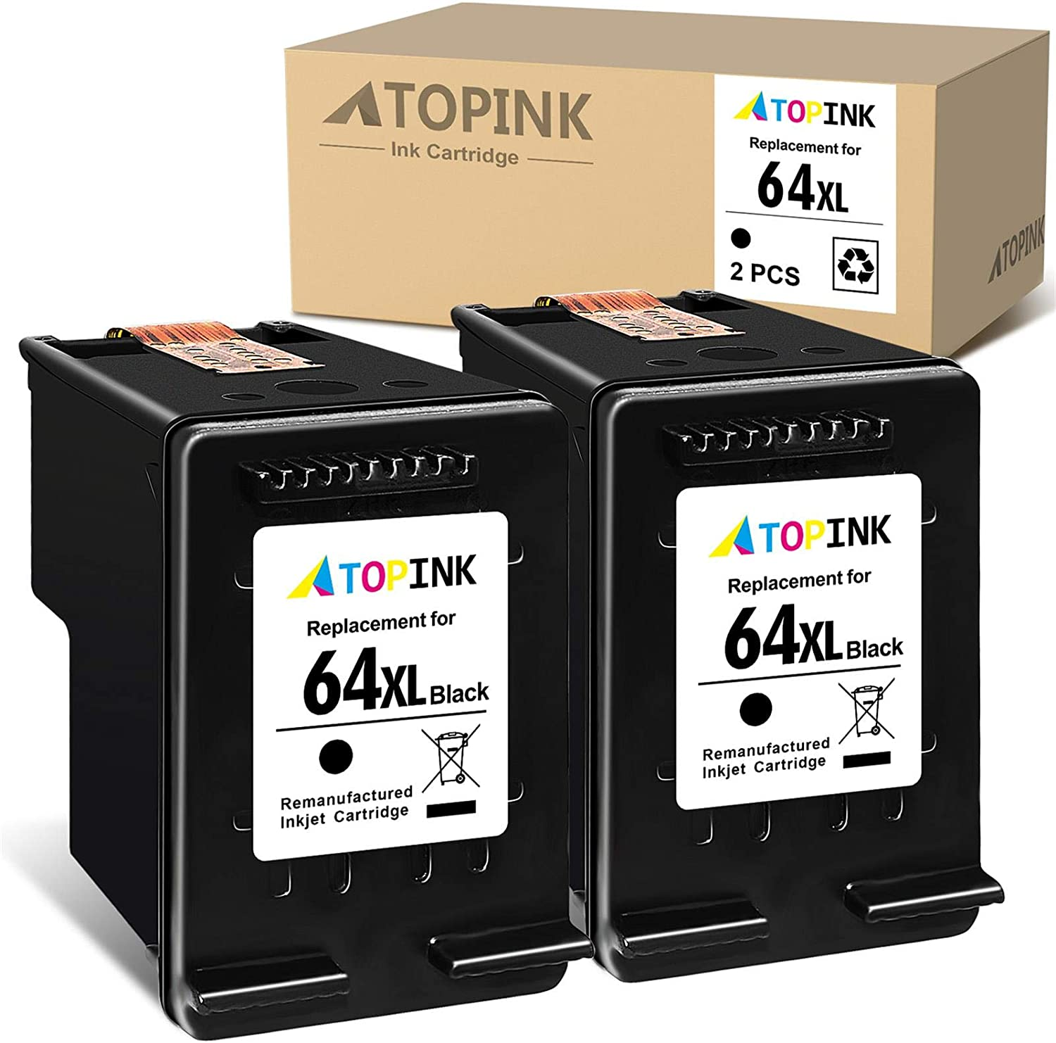 ATOPINK Remanufactured Ink Cartridge Replacement for HP 64XL 64 XL Fit in Envy Photo 7855 6222 7155 7800 7158 7164 6255 6252 7858 7120 7130 6220 6230 6232 6234 Tango X Smart All-in-One (Black, 2-Pack)