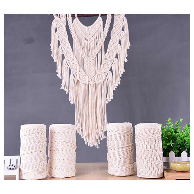 zhengjun Tapestry Braid Rope Handmade DIY Decorative Rope 3 Strand 100% Cotton Twisted Cord Rope Craft Macrame Artisan String (5.0MM thickness-100 M(109yd)/tube)