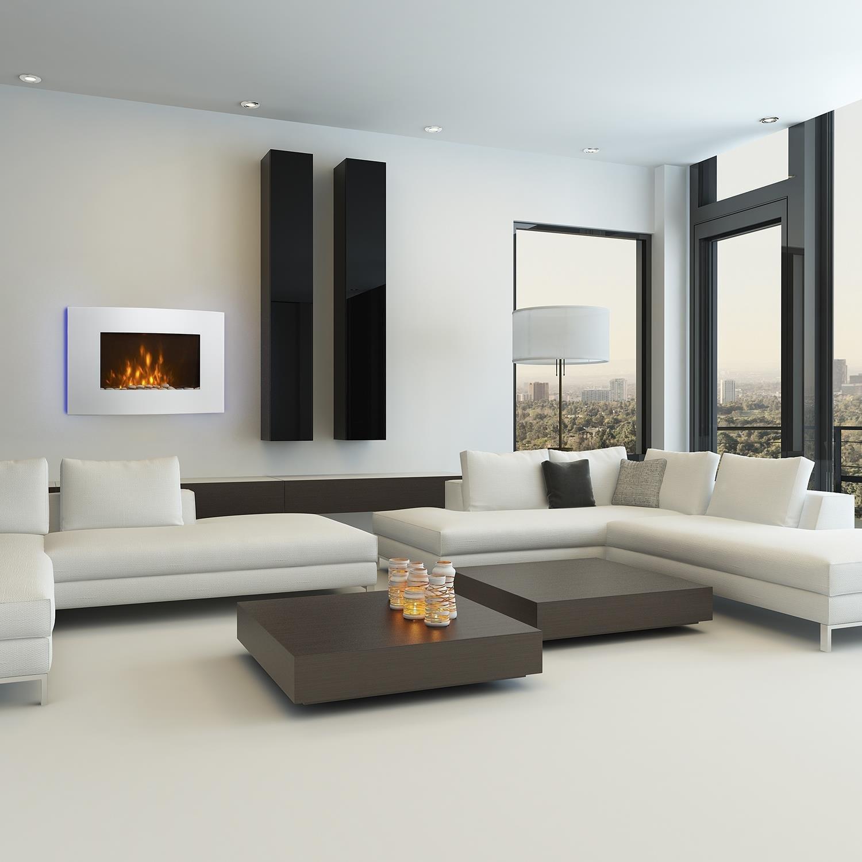Klarstein Lausanne • Chimenea eléctrica horizontal de pared • Rendimiento de 1000 o 2000 W • calefactor eléctrico • ilusión llamas • instalación pared ...