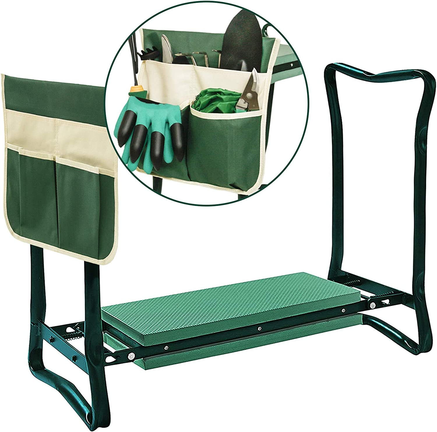 SICHOWEL Garden Kneeler and Seat with 1 Large Removable Tool Pouch, Portable and Foldable Garden Stool with Foam for Gardeners