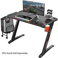 Eureka Ergonomic Z1-S Gaming Desk - Computer Desk l - Shaped Gaming Table PC Gaming Desks with LED Lights, Cup Holder&Headphone Hook Carbon Fiber Table-Black