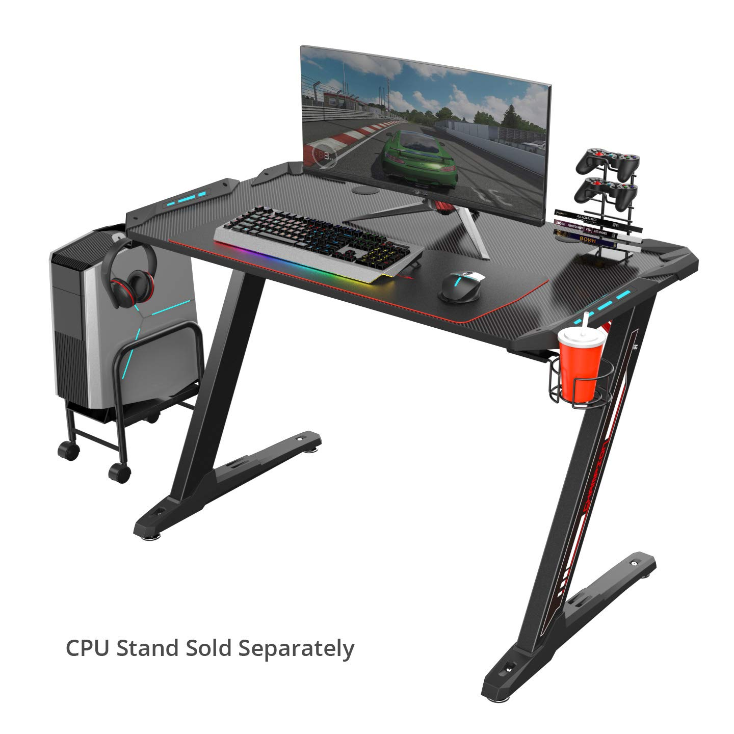 Eureka Ergonomic Z1-S Gaming Desk 44.5'' Z Shaped Office PC Computer Gaming Desk Gamer Tables Pro with LED Lights Controller Stand Cup Holder Headphone Hook & Free Mousepad - Black by Eureka Ergonomic