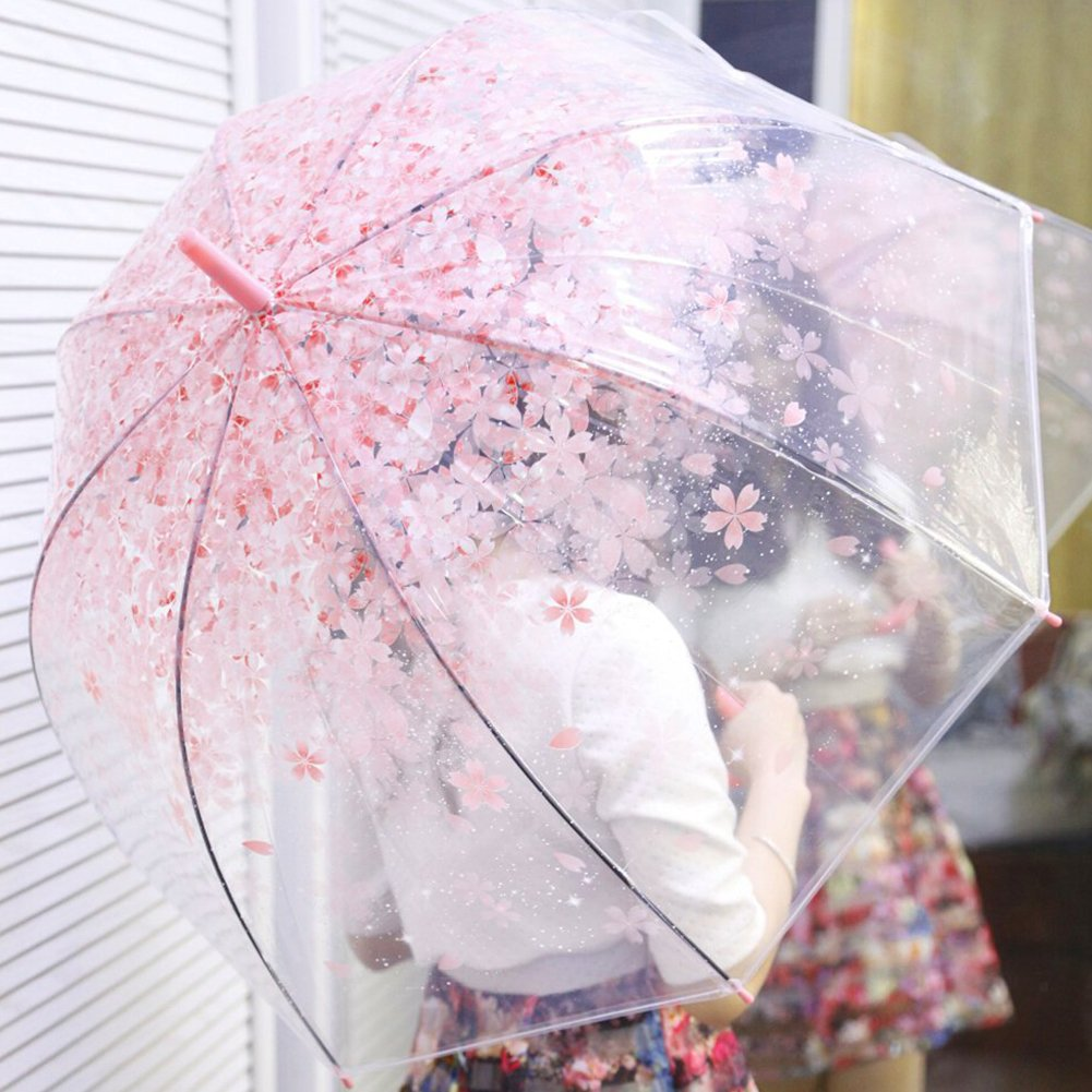Amazon.com : Beautiful Cherry Blossoms Transparent Umbrella Half-automatic Clear Umbrella Long Handle (Pink) : Garden & Outdoor