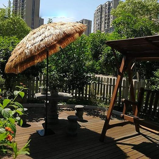 Parasol LZPQ 2m Sombrilla de Playa al Aire Libre Hula Thatched Tiki Umbrella Tropical Hawaiian Patio Sombrilla de ...
