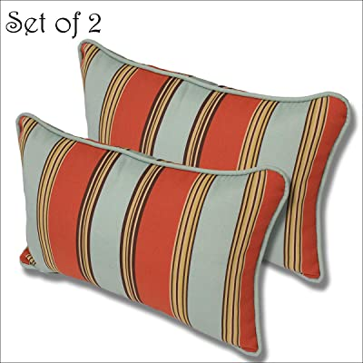 Comfort Classics Inc. Outdoor Multi Color Stripe Pillow (Set of 2) 21x14x2 in Polyester : Garden & Outdoor
