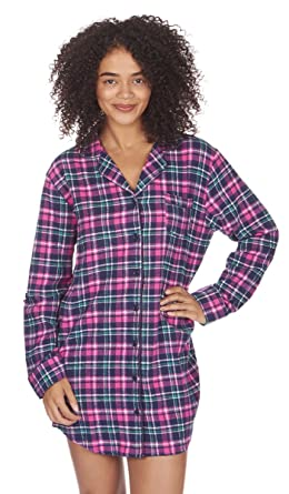134a4d3fb9 Forever Dreaming Ladies Brushed Cotton Flannel Check Shirt Nightie Nightwear