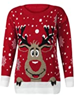 (M) Womens Knitted Rudolf Reindeer Ladies Xmas Christmas Novelty Jumper Sweater Top | Red - LS Red Nose Reindeer Knit Jmpr | SM 8/10