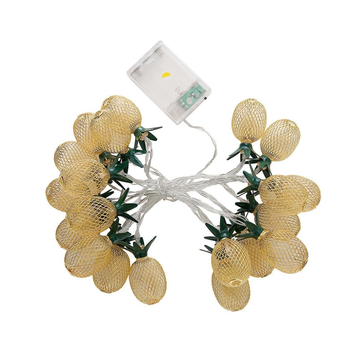 Aobiny Lamp string, LED Metal Hollowed Pineapple Holiday Decorative Lamp String (Gold) by Aobiny (Image #1)