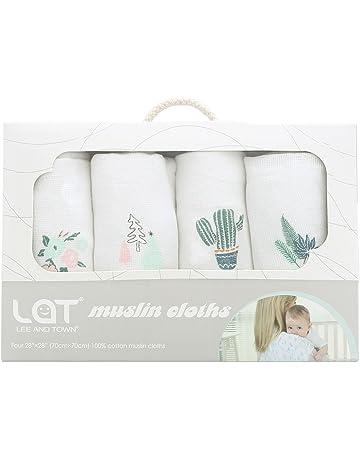 Lote de 4 toallitas de gasa para bebé, muselina de algodón, diseño cuadrado,