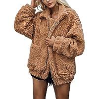 SIMANLI Women's Faux Fur Coat Faux Fleece Jacket Winter Outwear Shaggy Shearling Jacket