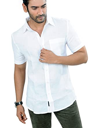 5731d19536d PANFILO 100% Linen Snow White Half Sleeve Shirt: Amazon.in: Clothing ...