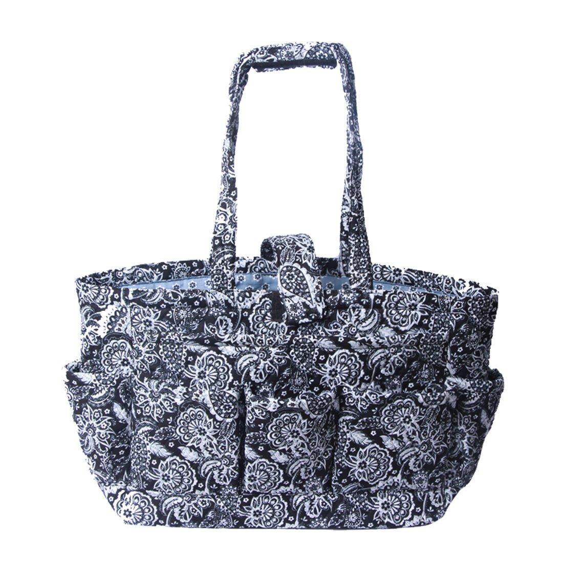 Floral Quilted Cotton Needle Bag Knitting Bag Yarn Storage Tote (Bule Damaks) SAIDI APPAREL MANUFACTURER