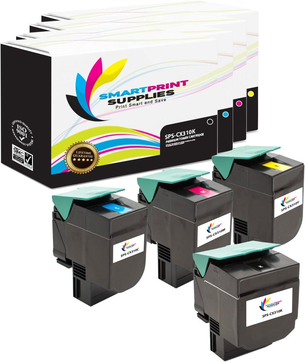 4 Pack Black, Cyan, Magenta, Yellow Smart Print Supplies Compatible Lexmark CX310 80C1SK0 80C1SC0 80C1SM0 80C1SY0 Toner Cartridge Replacement