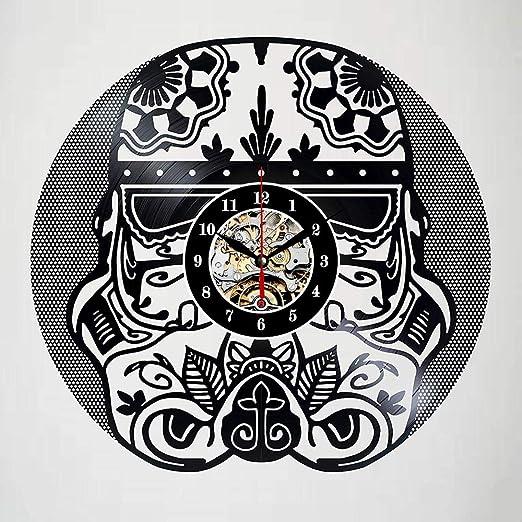 Tatuaje Cráneo Retro Vintage Reloj De Pared Disco De Vinilo Reloj ...