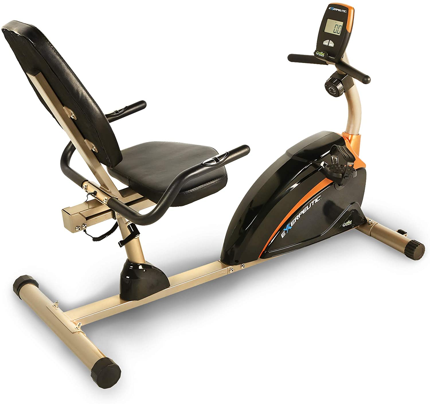 4. EXERPEUTIC Weight Capacity Recumbent Exercise Bike with Pulse