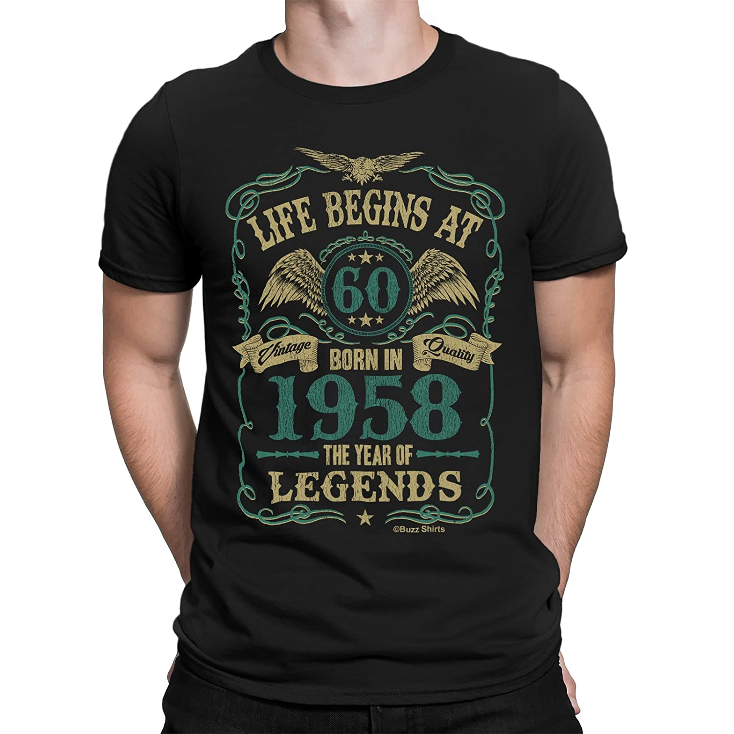 Buzz Shirts Life Begins at 60 Mens T-Shirt - Born in 1958 Year of Legends 60th Birthday Gift - by