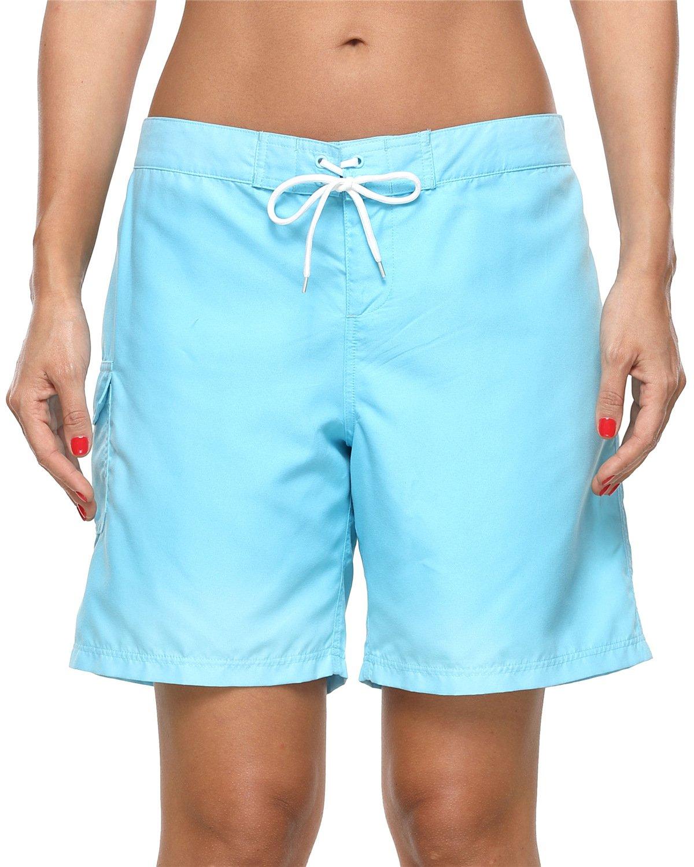 ALove Women's Loose Fit Swim Shorts Quick Drying Boardshorts Swimsuits Bottom Blue Medium by ALove (Image #4)