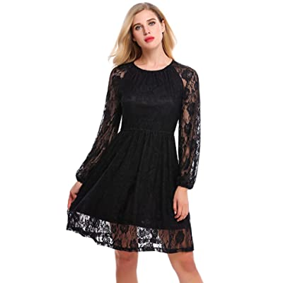 ACEVOG Women Floral Lace Long Sleeve A-Line Elastic Pleated Cocktail Party Dress at Amazon Women's Clothing store