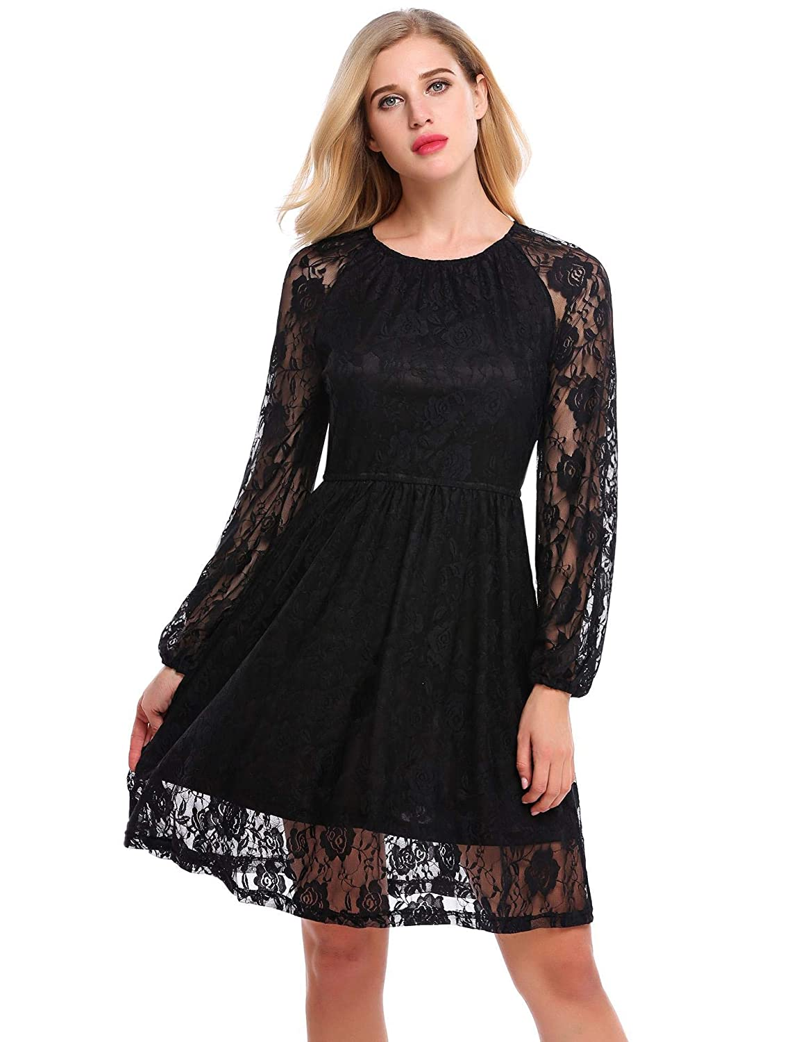 8b478a380f67d ACEVOG Women Floral Lace Long Sleeve A-Line Elastic Pleated Cocktail Party  Dress at Amazon Women's Clothing store: