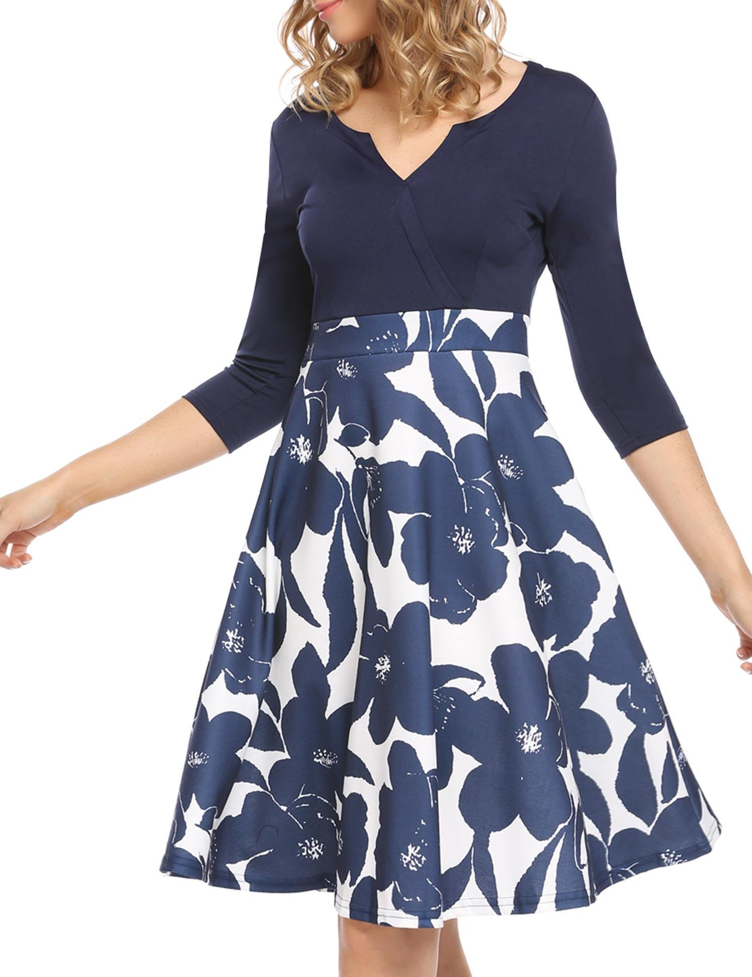 ANGVNS Women's Elegant Floral Printed A Line 3/4 Sleeve V Neck Casual Dress (Navy Blue,M)