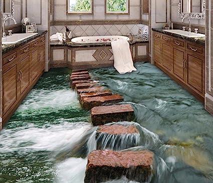 Bernton New Floor 3d Modern Art River Stones Bathroom Floor Self Adhesive Floor Wallpaper
