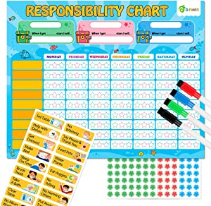 D-FantiX Magnetic Responsibility Chart, Chore Chart for Multiple Kids, My Star Reward Chart Daily Routine Good Behavior Charts Dry Erasable for Toddlers at Home