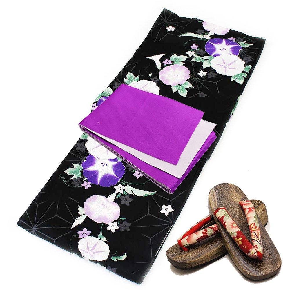 (ナツニッキ) 夏日記 浴衣セット 3点セット 変り織 浴衣 レトロ レディース 帯 下駄 B07CLSGL3N 【183C】浴衣帯:紫×白 【183C】浴衣帯:紫×白