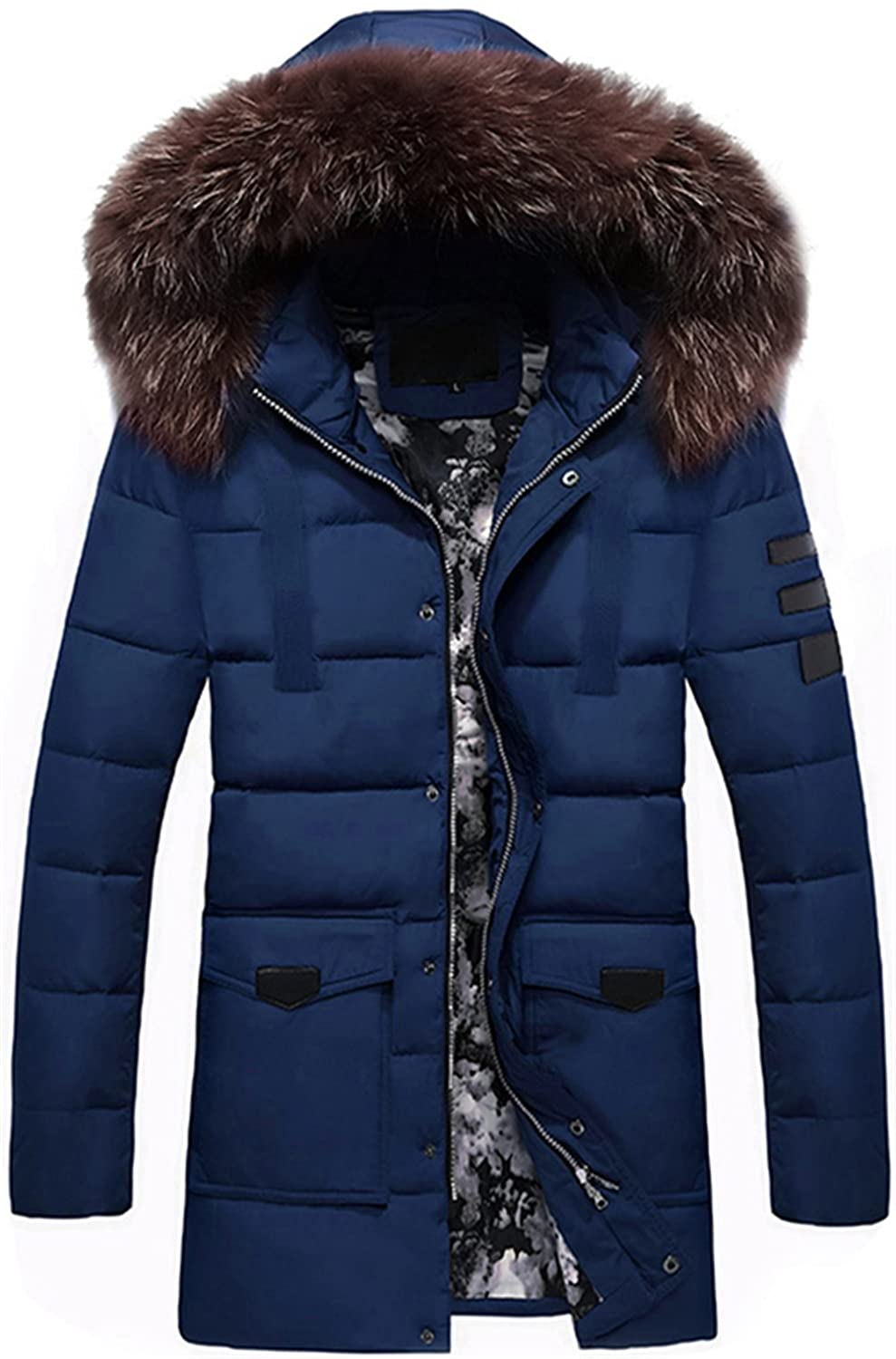 K3K Men's Winter Down Cotton Coat Fur Collar Hooded Quilted Parka Puffer Jacket