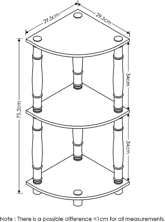 luz Cherry Furinno 99811lc//BK Turn-n-Tube 5/Pisos estanter/ía para Esquina