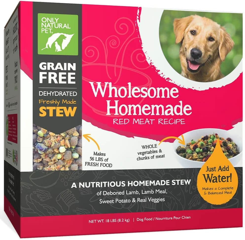 Only Natural Pet Wholesome Homemade Stew Dehydrated Dog Food – Human Grade Formula That Contains Real Wholesome Nutrition, Low Glycemic, Non-GMO