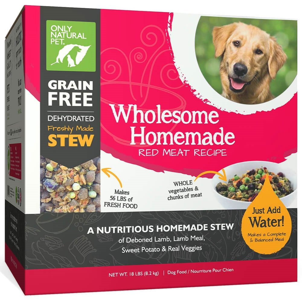 Only Natural Pet Wholesome Homemade Stew Dehydrated Dog Food - Human Grade Formula That Contains Real Wholesome Nutrition, Low Glycemic, Non-GMO - Red Meat Recipe 18 lb Box (Makes 56 lbs of Food)