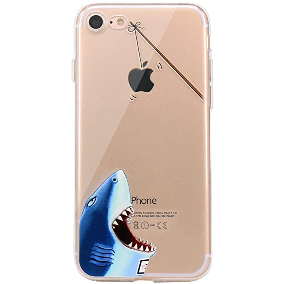 newest 011aa 6457c JAHOLAN iPhone 7 Case, iPhone 8 Case Amusing Whimsical Design Clear Bumper  TPU Soft Case Rubber Silicone Cover for iPhone 7 iPhone 8 - Hungry Shark
