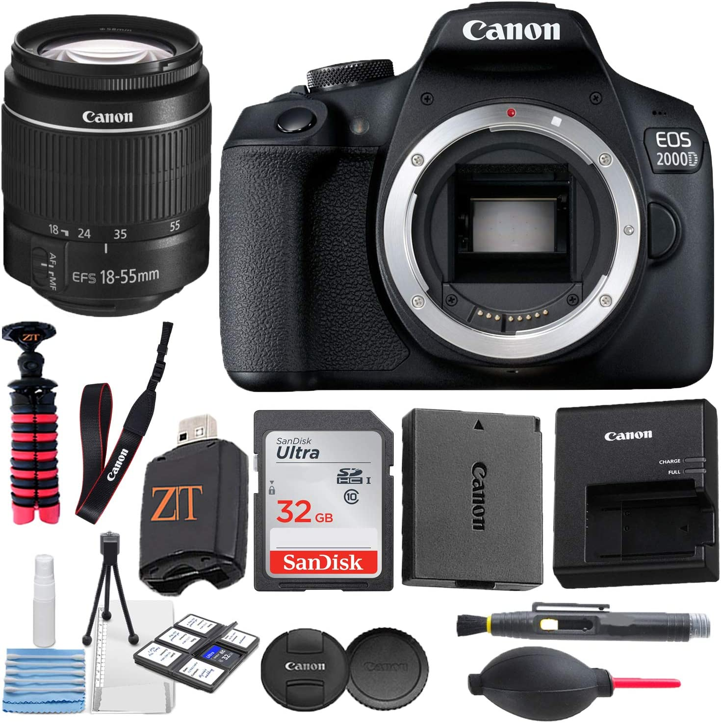 Canon EOS 2000D / Rebel T7 Digital DSLR Camera Body with 24.1MP CMOS Sensor, Built-in WiFi + 18-55mm Lens + Sandisk 32GB SDHC Memory Cards + Tripod + Accessory Bundle