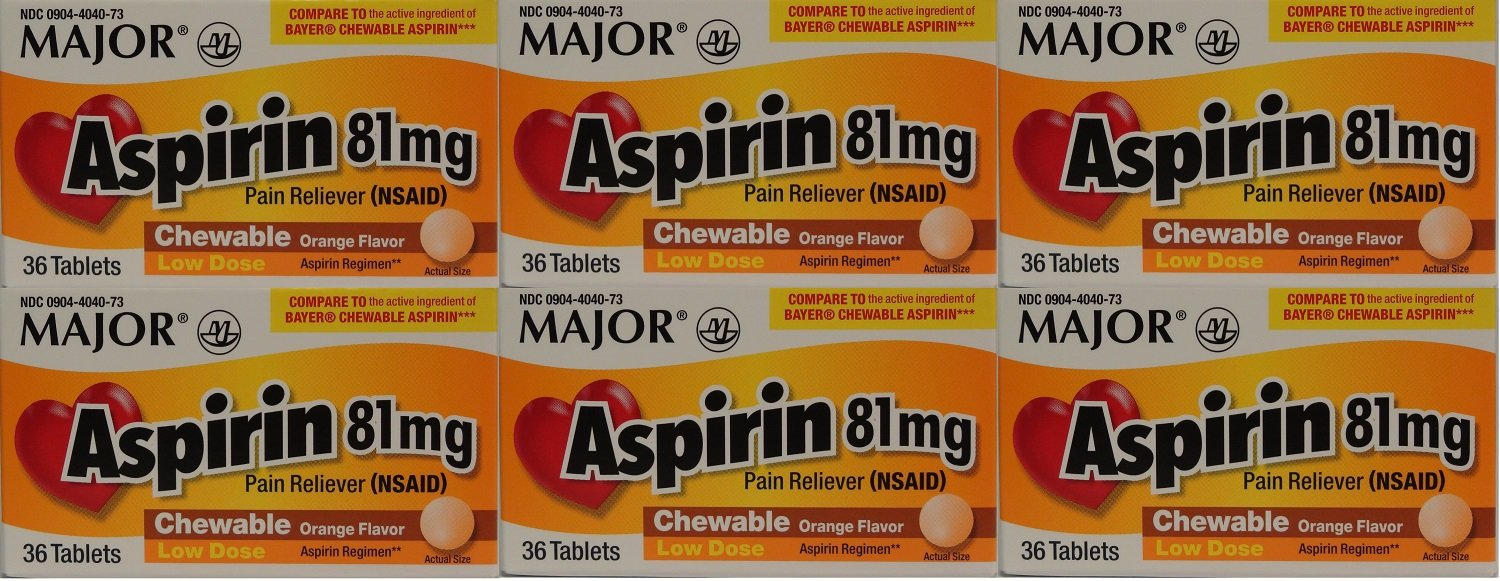 Aspirin 81mg Chewable Orange Flavored Tablets Generic for Bayer Children's Aspirin 36 Tabs per Boxe Pack of 6 Toatal 216 Tabs.