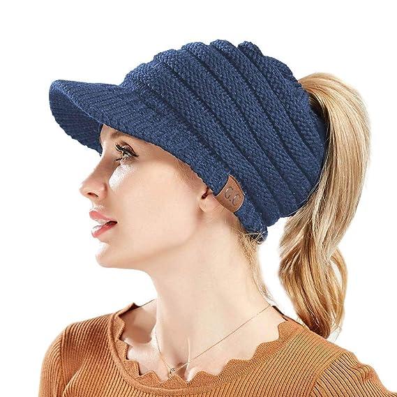 Mallalah Sombreros Beanie de Invierno para Mujer Sombrero de Gorro de Cola  de Caballo Cálido Cable 36a8381ab2b
