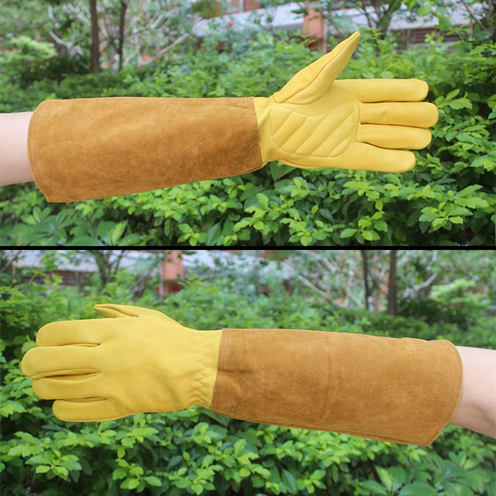 Guantes de jardiner/ía a prueba de cortes a prueba de pu/ños S 2 guantes de cuero vacuno extra largos y duraderos para jardiner/ía