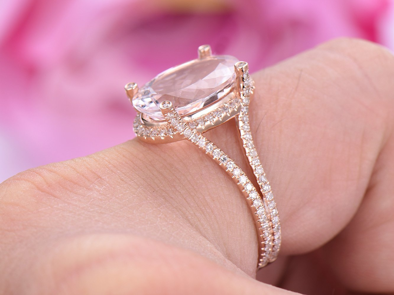Amazon.com: Elongated Oval Morganite Engagement Ring Pave Diamond ...