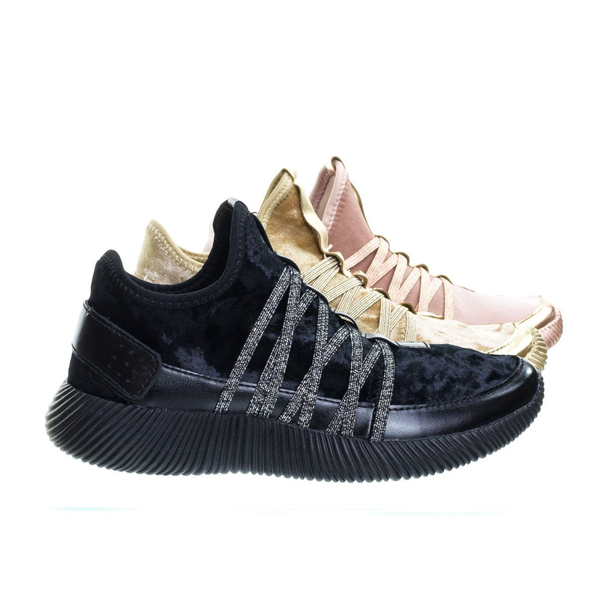 Forever Link Women's Remy-18 Glitter Sneakers | Fashion Sneakers | Sparkly Shoes for Women |Black 8